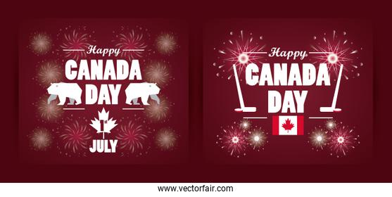 first july canada day celebration poster with hockey sport equipment