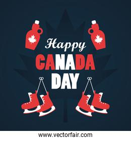 first july canada day celebration poster with mapple syrup bottles and skates