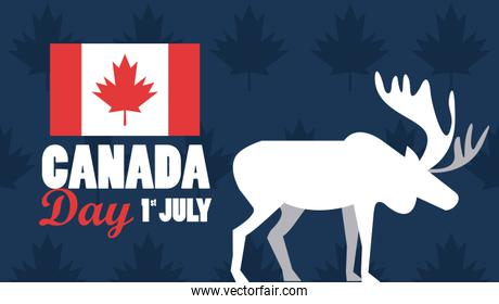 first july canada day celebration poster with reindeer