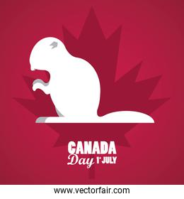 first july canada day celebration poster with beaver