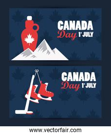 first july canada day celebration poster with mountains and maple syrup