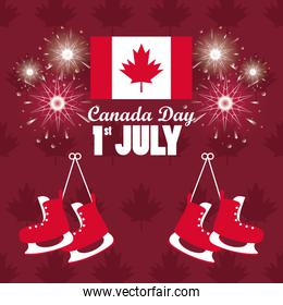 first july canada day celebration poster with skates