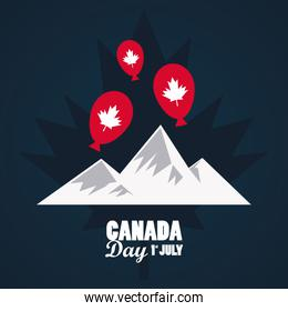 first july canada day celebration poster with mountains