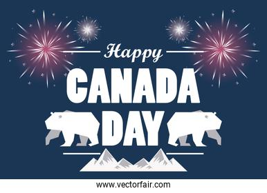 first july canada day celebration poster with bears