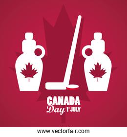 first july canada day celebration poster with maple syrup bottles