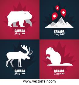 first july canada day celebration poster with mountains and animals