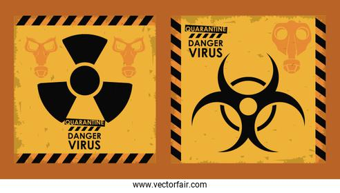danger virus poster with biohazard and nuclear symbols