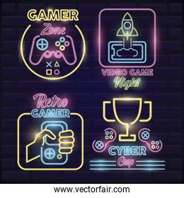 retro video game neon bundle set icons