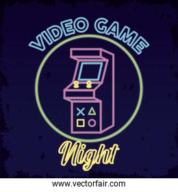 retro video game neon with machine