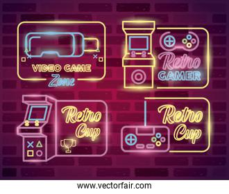 retro video game neon with set icons