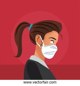 businesswoman working and wearing medical mask