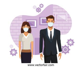 business couple working and wearing medical masks