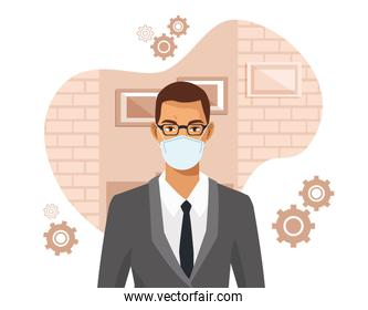 businessman working and wearing medical mask