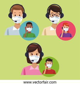 call center support workers wearing medical mask