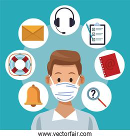 call center support male worker wearing medical mask