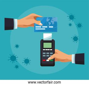 businessman hands with credit card and voucher machine