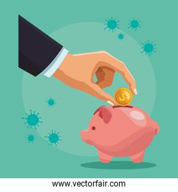 businessman hand with coin money dollar and piggy