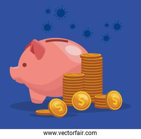 piggy savings with coins money dollars