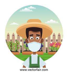afro male farmer wearing medical mask scene
