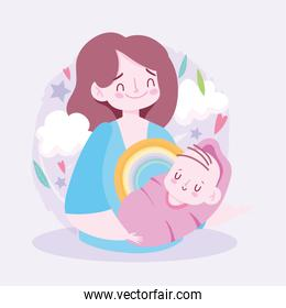 Mother with baby and clouds   design