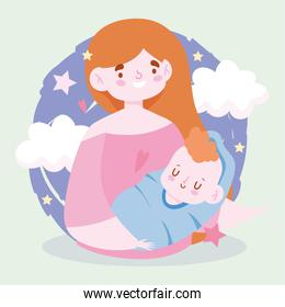 Mother with baby and clouds vector design