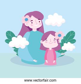 Mother with daughter flowers clouds and leaves vector design