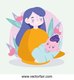 Mother with baby and leaves vector design