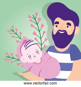 Father with baby and hearts leaves vector design