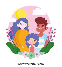 Mother father and daughter with leaves and flowers vector design