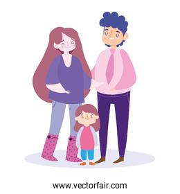 Mother father and daughter vector design