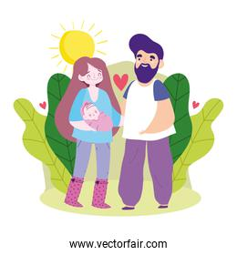 Mother father baby and leaves vector design