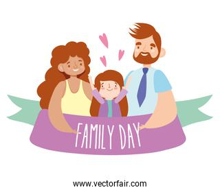 Mother father and daughter with family day ribbon vector design