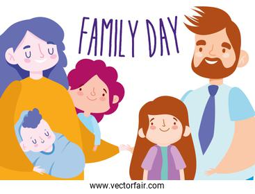 Mother father daughters baby and family day vector design