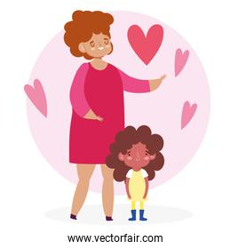 Mother with daughter and hearts vector design