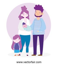Mother father baby and daughter vector design