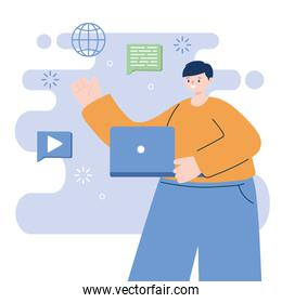 Man with laptop vector design