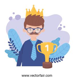 Father man with trophy cup on fathers day vector design