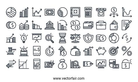 Economy and finance line style icon set vector design