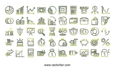 Economy and finance gradient style icon set vector design