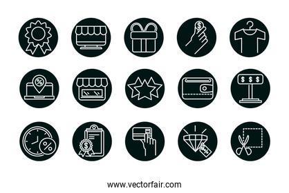 Shopping block and line style icon set vector design
