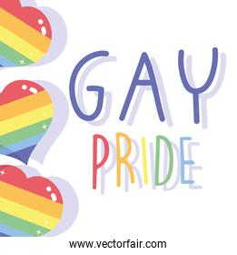 happy pride day, hearts love with rainbow color LGBT community
