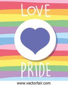 love and pride text with heart in front of lgtbi flag vector design