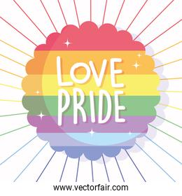 love and pride text in front of lgtbi flag seal stamp vector design