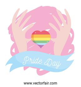 lgtbi heart with hands and ribbon vector design