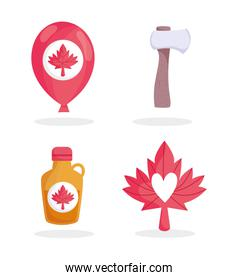 Canadian maple syrup balloon axe and leaf vector design