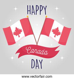 Canadian flags of happy canada day vector design