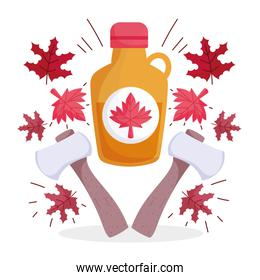 Canadian maple syrup leaves and axes of happy canada day vector design
