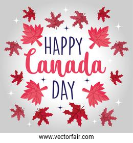Canadian maple leaves of happy canada day vector design