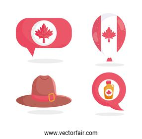 Canadian hat maple syrup leaf bubble and balloon vector design