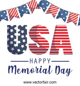 Usa and banner pennant of memorial day vector design